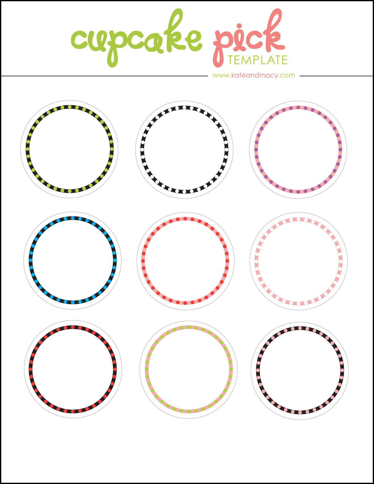 Kate: Free Digital Cupcake Pick Topper Template | Printables - Cupcake Topper Templates Free Printable