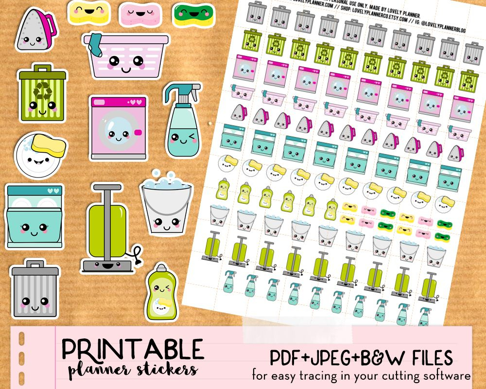Kawaii Trash Bins Stickers - Free Printable And Cut File | Printable - Free Printable Kawaii Stickers