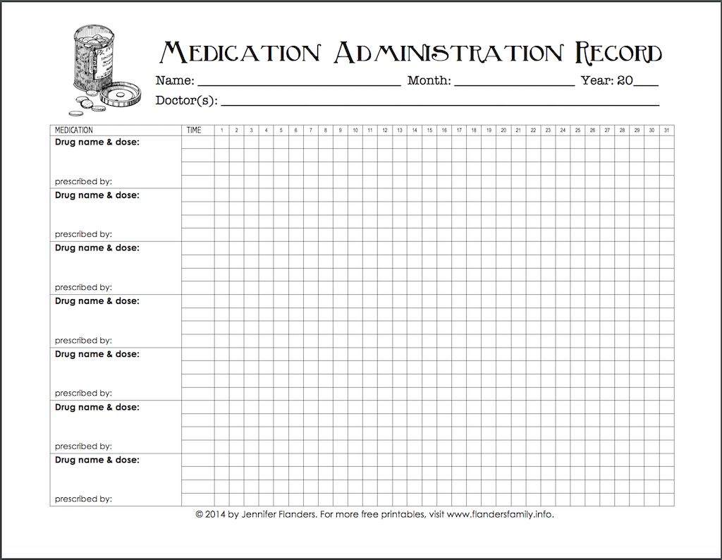 Keeping Track Of Medications {Free Printable Chart} - Flanders - Medication Chart Printable Free