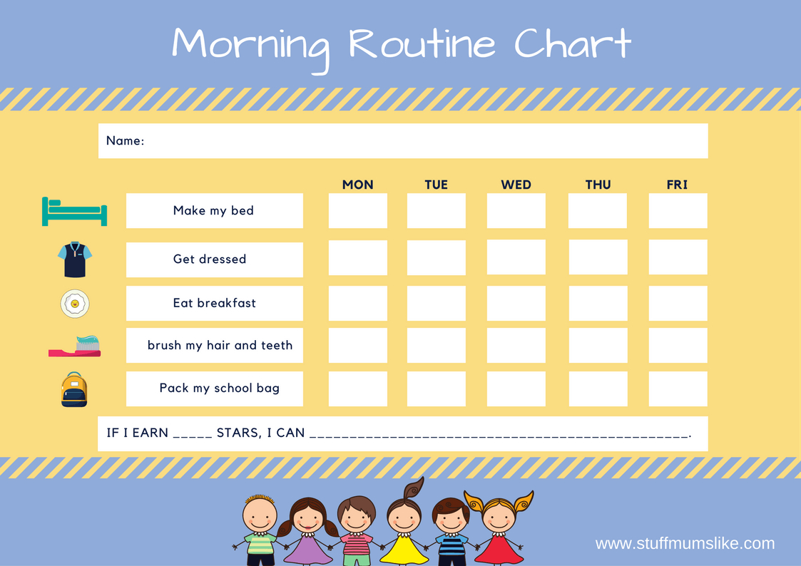 Kids Morning Routine Checklist- With Free Printable - Stuff Mums Like - Children's Routine Charts Free Printable