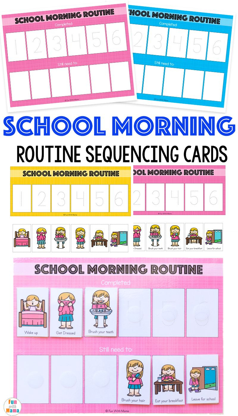 Kids Schedule Morning Routine For School | Fun With Mama Blog Posts - Free Printable Daily Routine Picture Cards