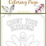 Kids Turkey Thanksgiving Coloring Page: Count Your Blessings   Free Printable Kindergarten Thanksgiving Activities