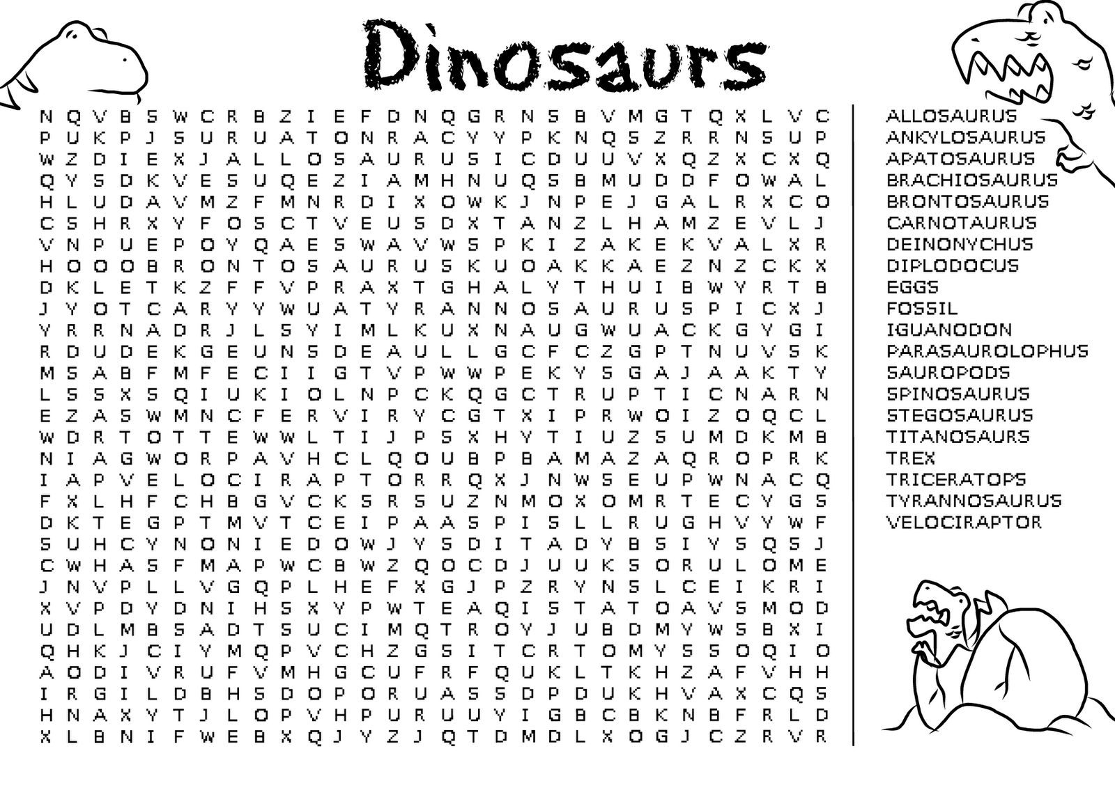 Kids Word Search Puzzle | Kiddo Shelter - Free Printable Dinosaur Word Search
