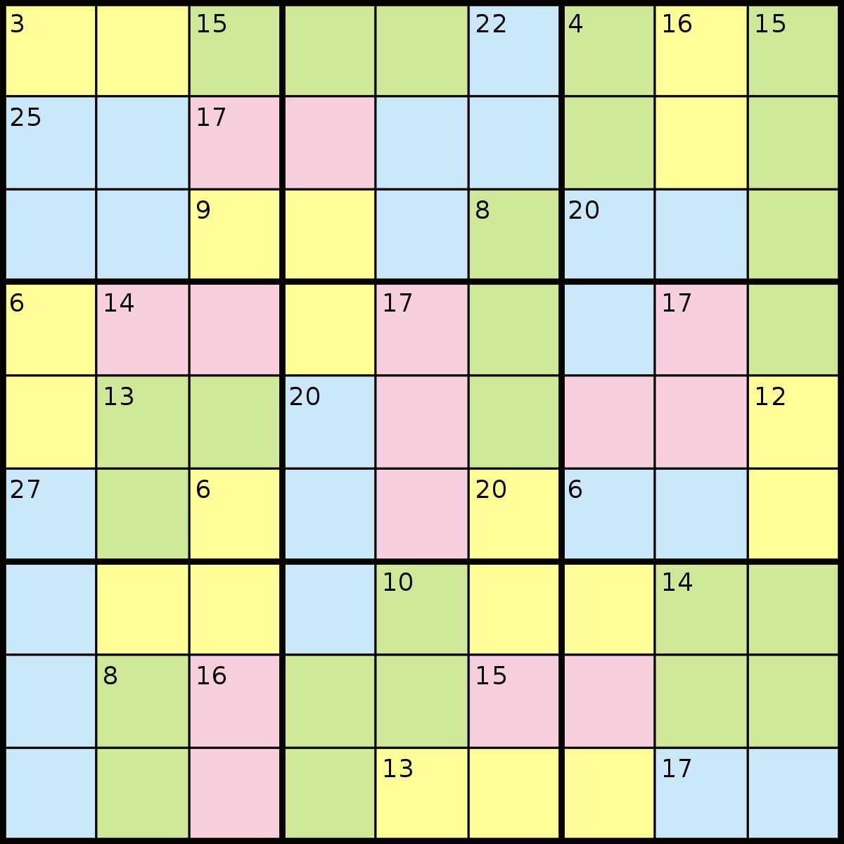 Killer Sudoku - Wikipedia - Free Printable Super Challenger Sudoku