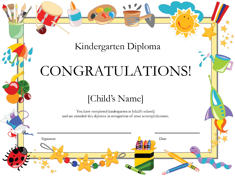 Kindergarten Graduation Certificate   Free Printable Kindergarten - Free Printable Children's Certificates Templates