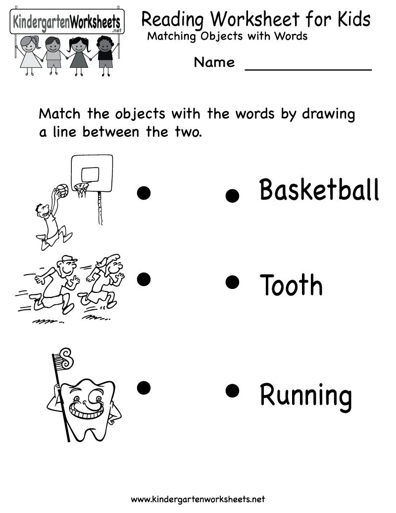 Kindergarten Reading Worksheet For Kids Printable   Worksheets - Free Printable English Reading Worksheets For Kindergarten