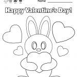 Kindergarten Valentine's Bunny Coloring Worksheet Printable   Free Printable Preschool Valentine Worksheets