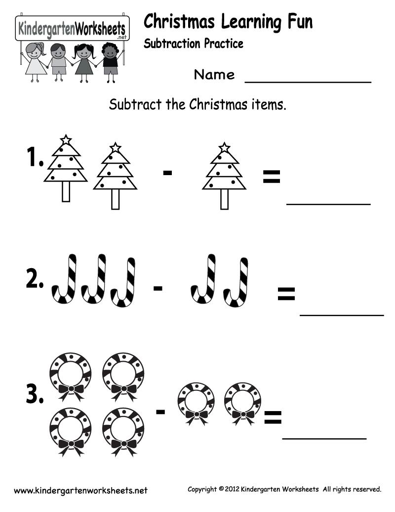 Kindergarten Worksheets Printable    Subtraction Worksheet - Free - Christmas Fun Worksheets Printable Free
