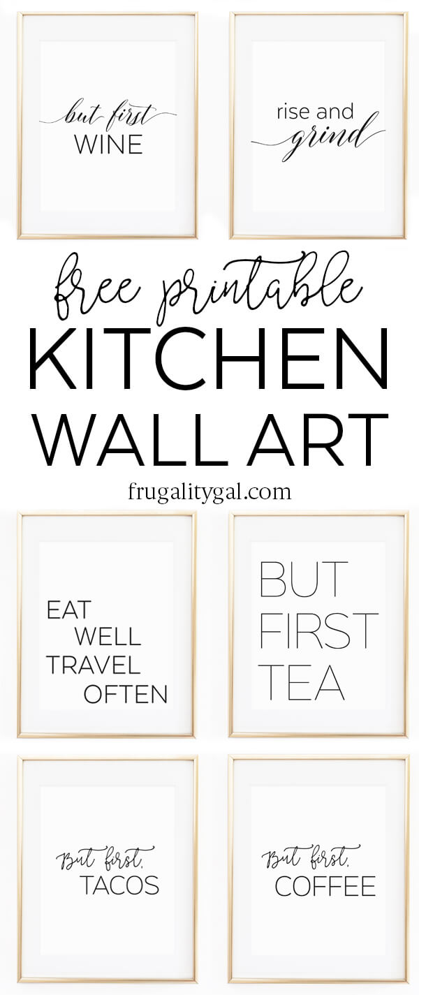 "Kitchen Wall Art - 8X10"" Set Of Six Prints - Free Printable - Free Black And White Printable Art"