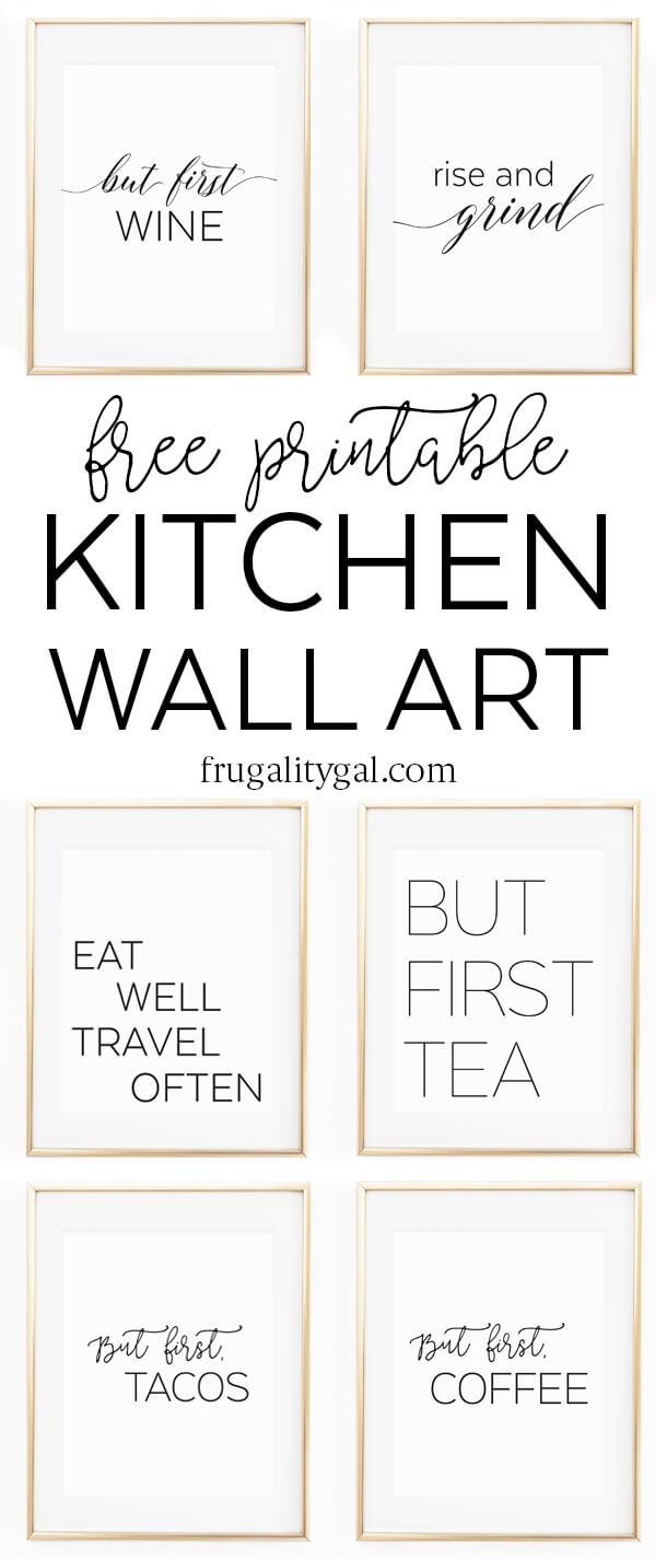 "Kitchen Wall Art - 8X10"" Set Of Six Prints - Free Printable - Free Printable Wall Posters"