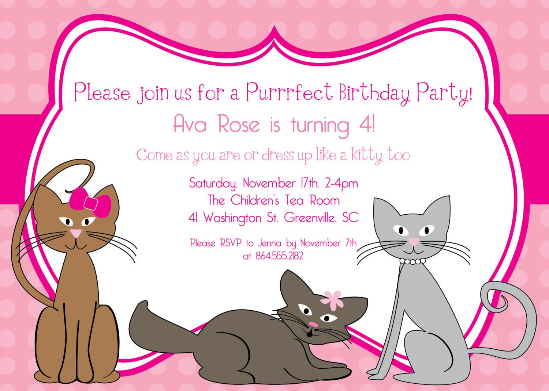 Kitten Party Invitation Free Printable - Free Printable Kitten Birthday Invitations