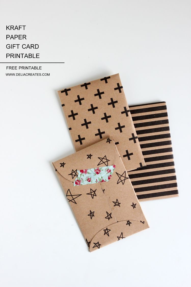 Kraft Paper Gift Card Envelope Free Printable | Diy - Papers - Free Printable Gift Card Envelope Template