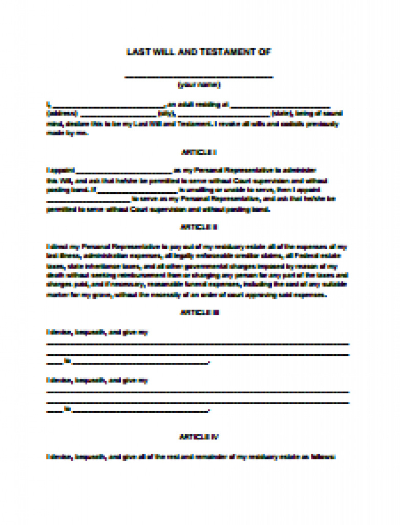 Last Will And Testament Form- Free Download, Create, Edit & Print - Free Printable Last Will And Testament Blank Forms Florida