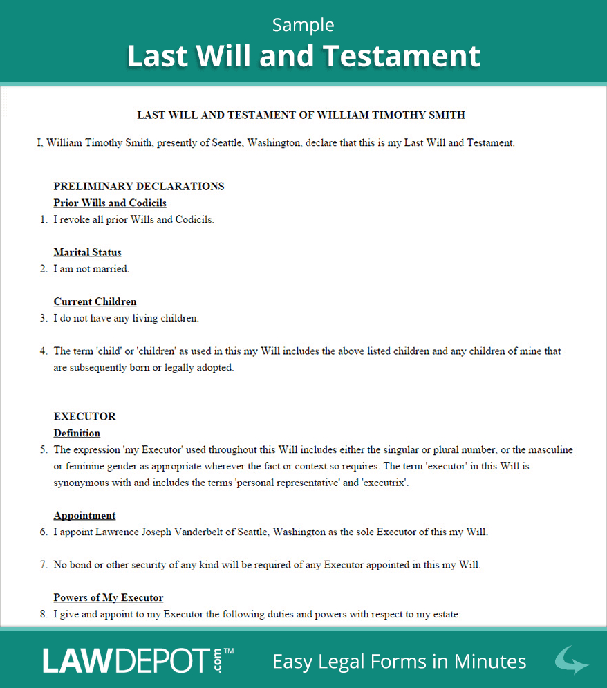 Last Will & Testament Form | Free Last Will (Us) | Lawdepot - Free Online Printable Living Wills
