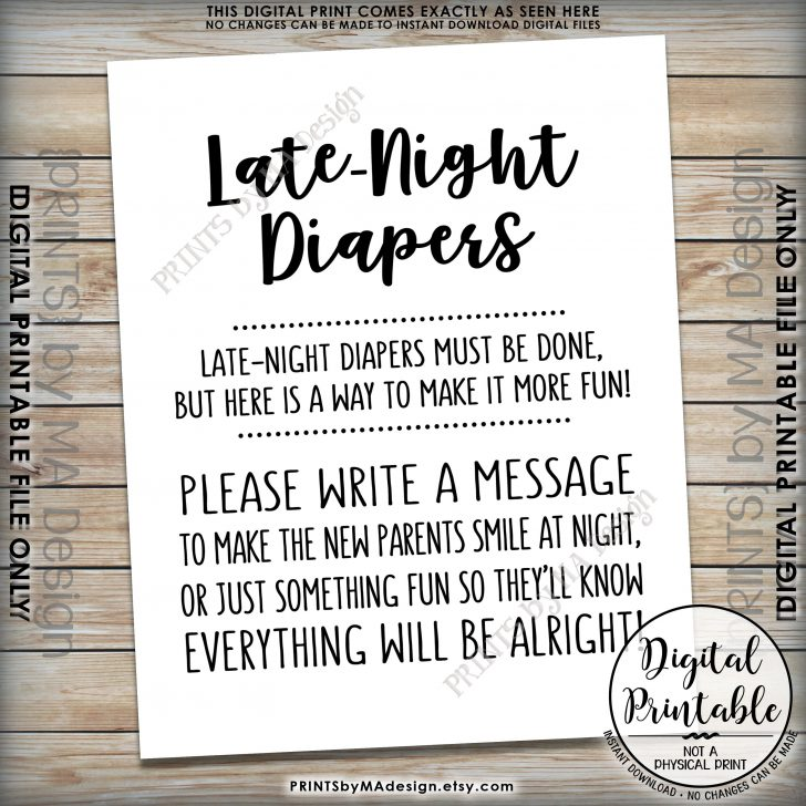 Late Night Diaper Sign Free Printable