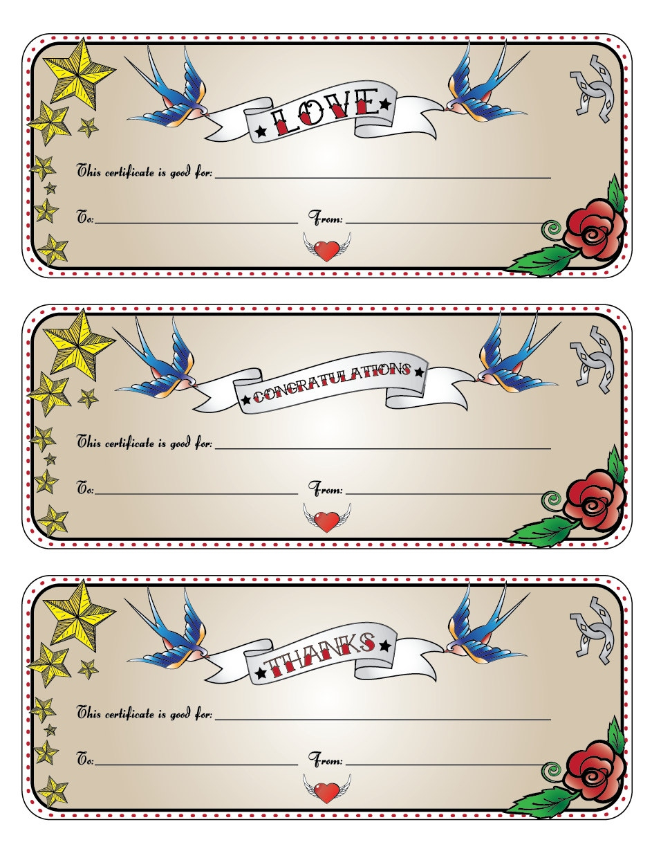 Latest Tattoo Gift Card   Gallery Of Tattoes For Men And Women - Free Printable Tattoo Gift Certificates