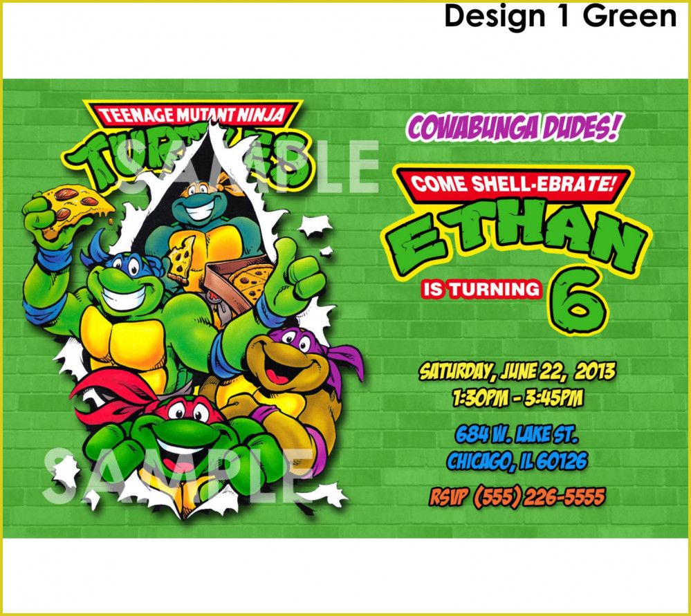 Latest Teenage Mutant Ninja Turtles Birthday Invitations Ideas #3638 - Free Printable Tmnt Birthday Party Invitations