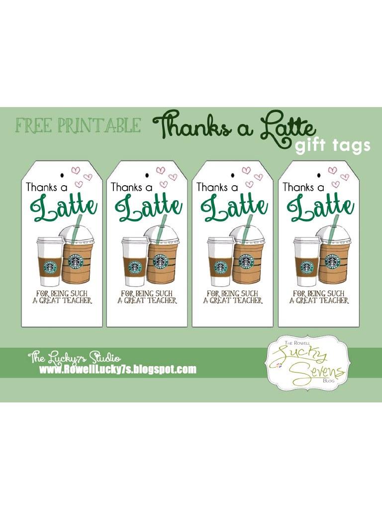 Latte Thanks Free Printable - Pdf Archive - Thanks A Latte Free Printable Gift Tag