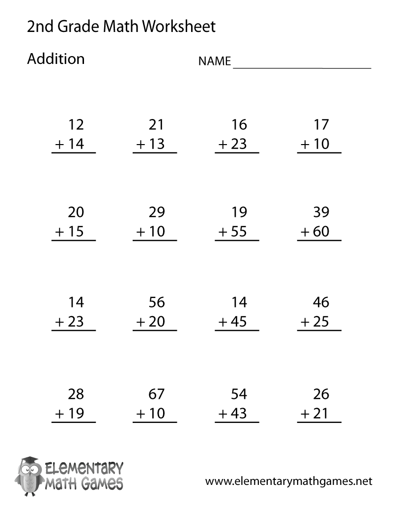 Learn And Practice How To Add With This Printable 2Nd Grade - Free Printable Second Grade Worksheets