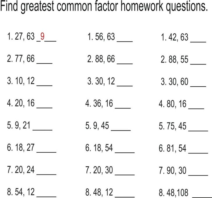 Least Common Multiple Worksheet Free Printable