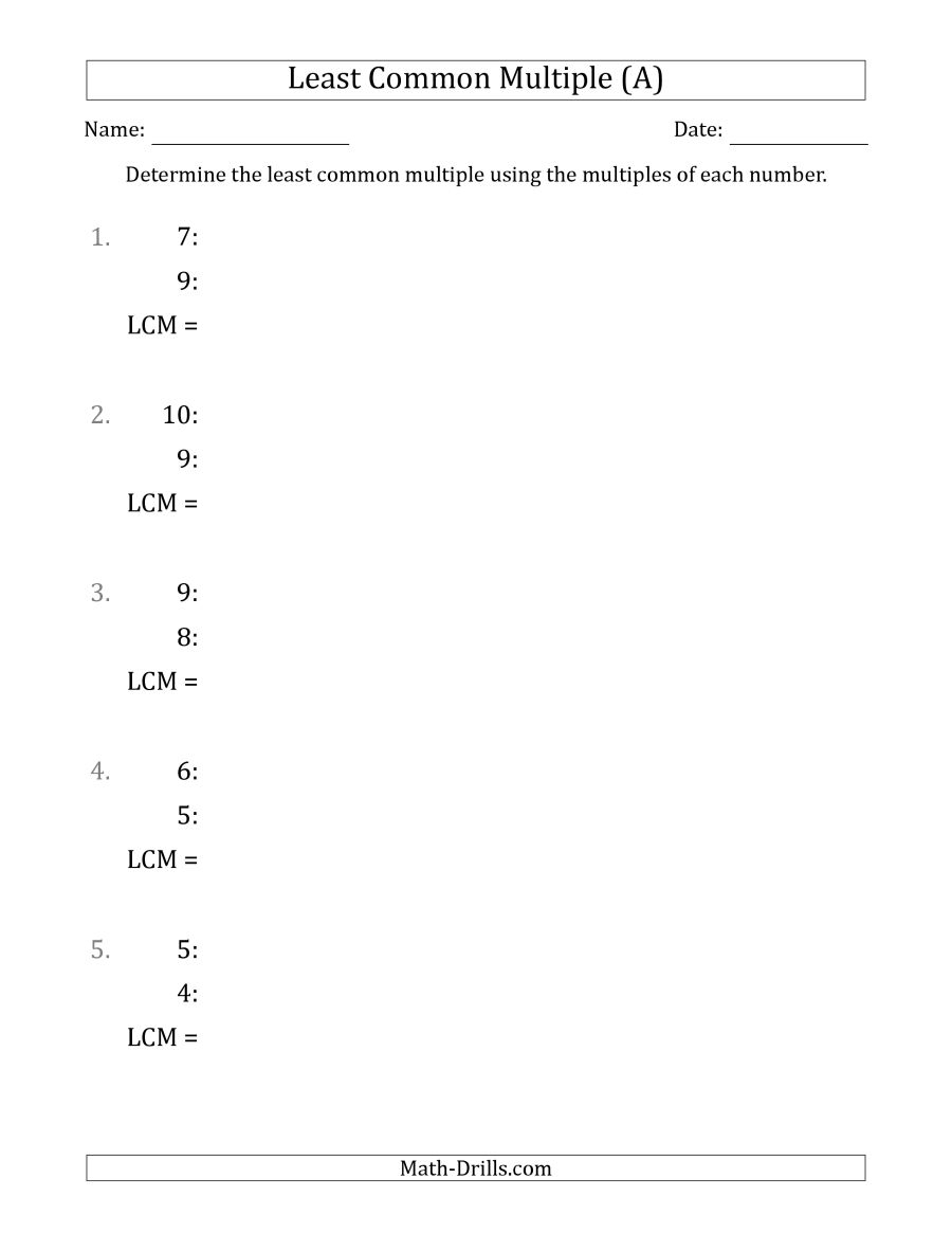 Least Common Multiple From Multiples Of Numbers To 10 (Lcm Not - Least Common Multiple Worksheet Free Printable