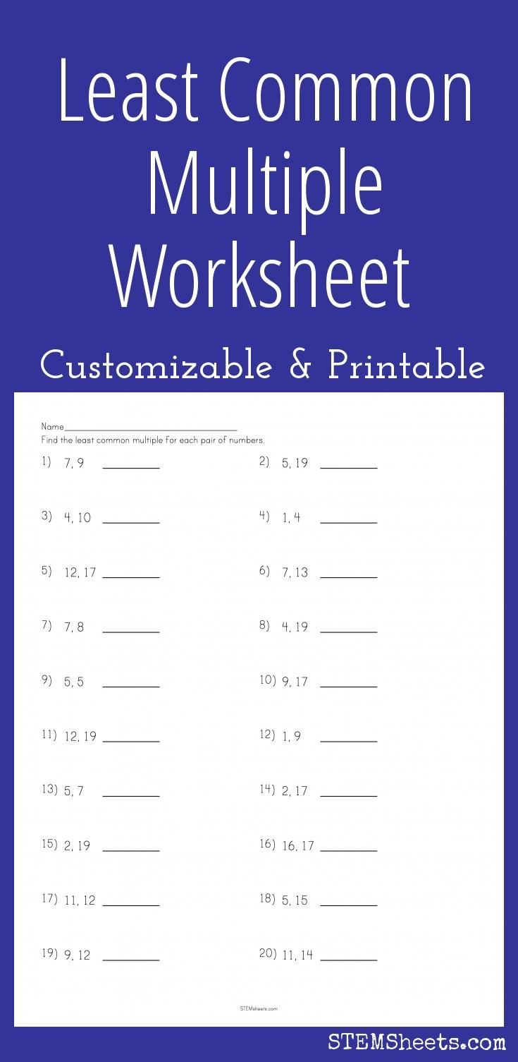 Least Common Multiple Worksheet - Customizable And Printable | Math - Least Common Multiple Worksheet Free Printable