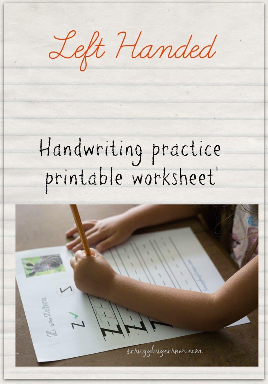 Left Handed Learning: Letter Practice Worksheet Z - Gym Craft Laundry - Free Printable Left Handed Worksheets