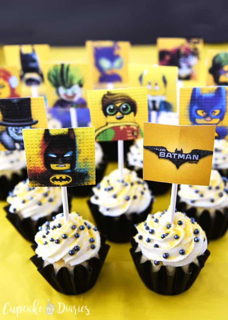 Lego Batman Cupcakes With Free Printable Toppers - Free Printable Lego Cupcake Toppers