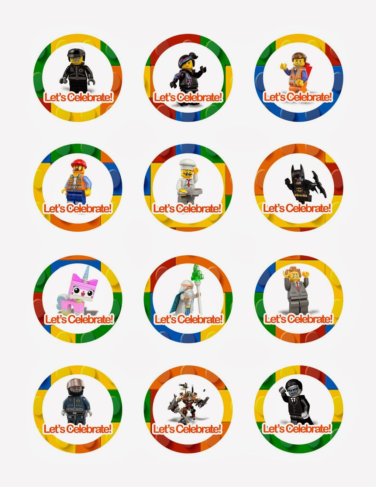 Lego Movie Cupcake Toppers - Free Printables, Also Has Peppa Pig - Free Printable Lego Cupcake Toppers