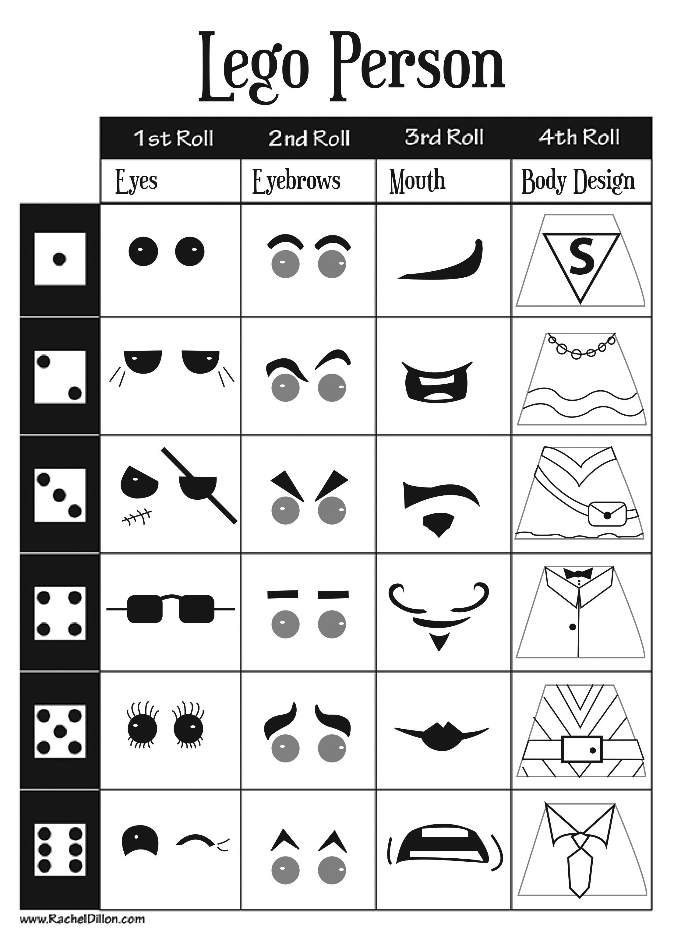 Lego Person Dice Game For Kids Art Project. This Is A Great Sheet - Roll A Monster Free Printable