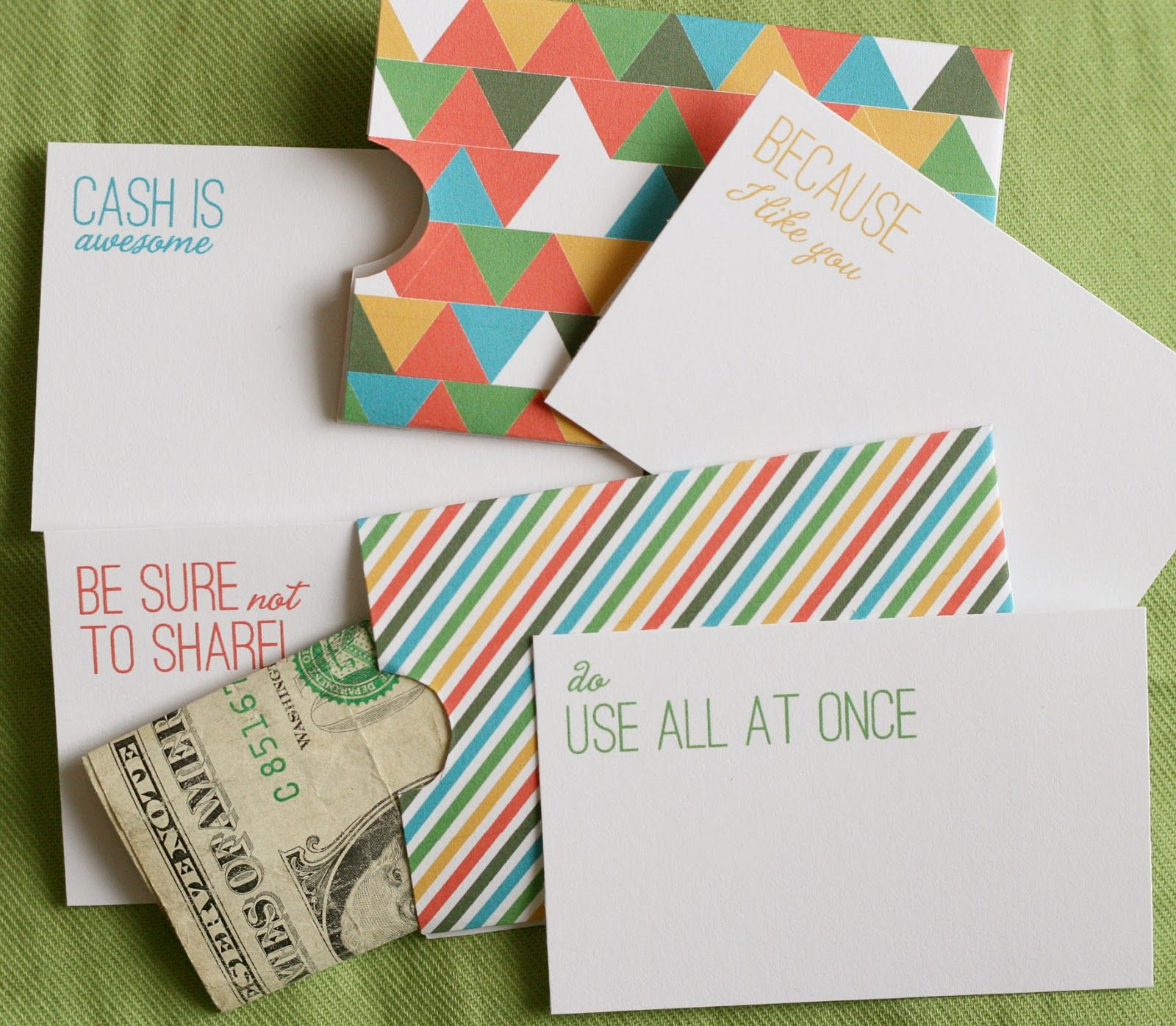 Lemon Squeezy: Day 12: Cash Holder Free Printables | Untie The - Free Printable Money Cards For Birthdays