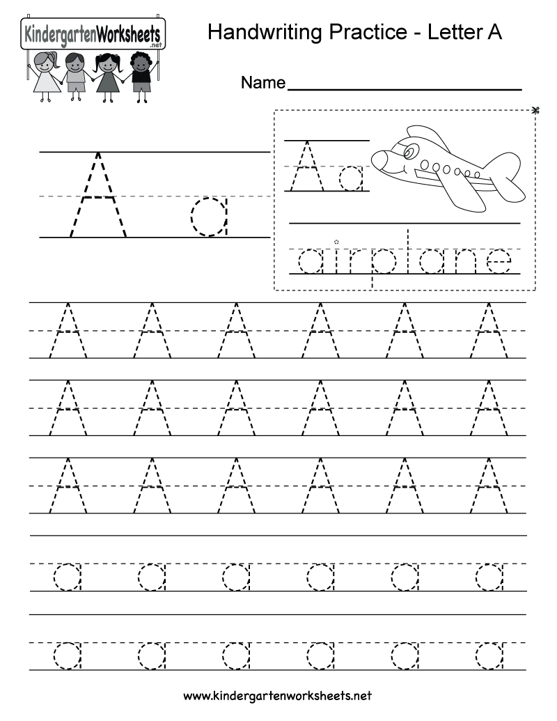 Letter A Writing Practice Worksheet - Free Kindergarten English - Free Printable Handwriting Sheets For Kindergarten