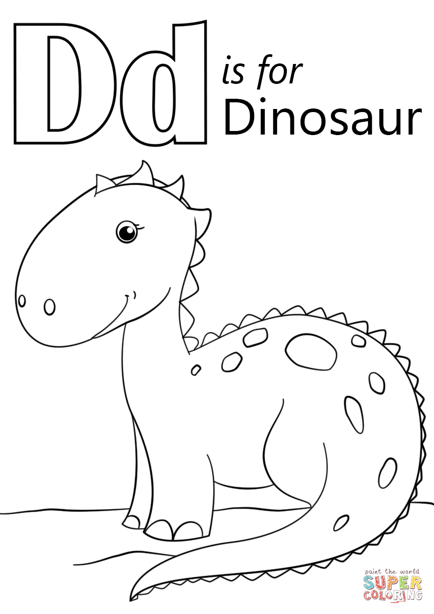 Letter D Is For Dinosaur Coloring Page | Free Printable Coloring Pages - Free Printable Dinosaur Coloring Pages
