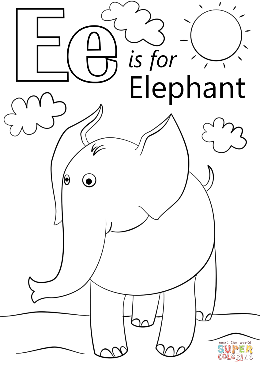 Letter E Is For Elephant Coloring Page | Free Printable Coloring Pages - Free Printable Elephant Pictures