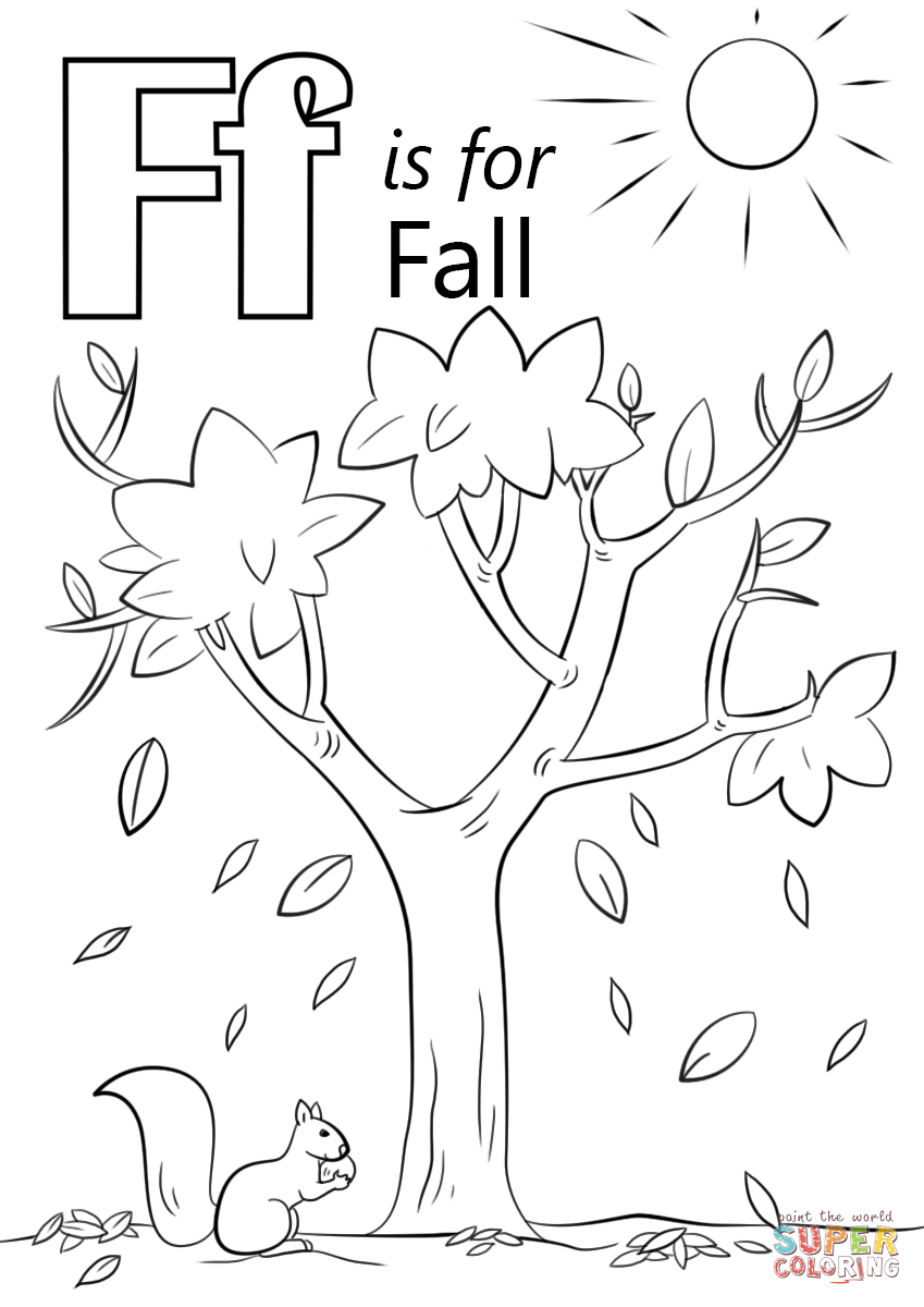 Letter F Is For Fall Coloring Page | Free Printable Coloring Pages - Tree Coloring Pages Free Printable