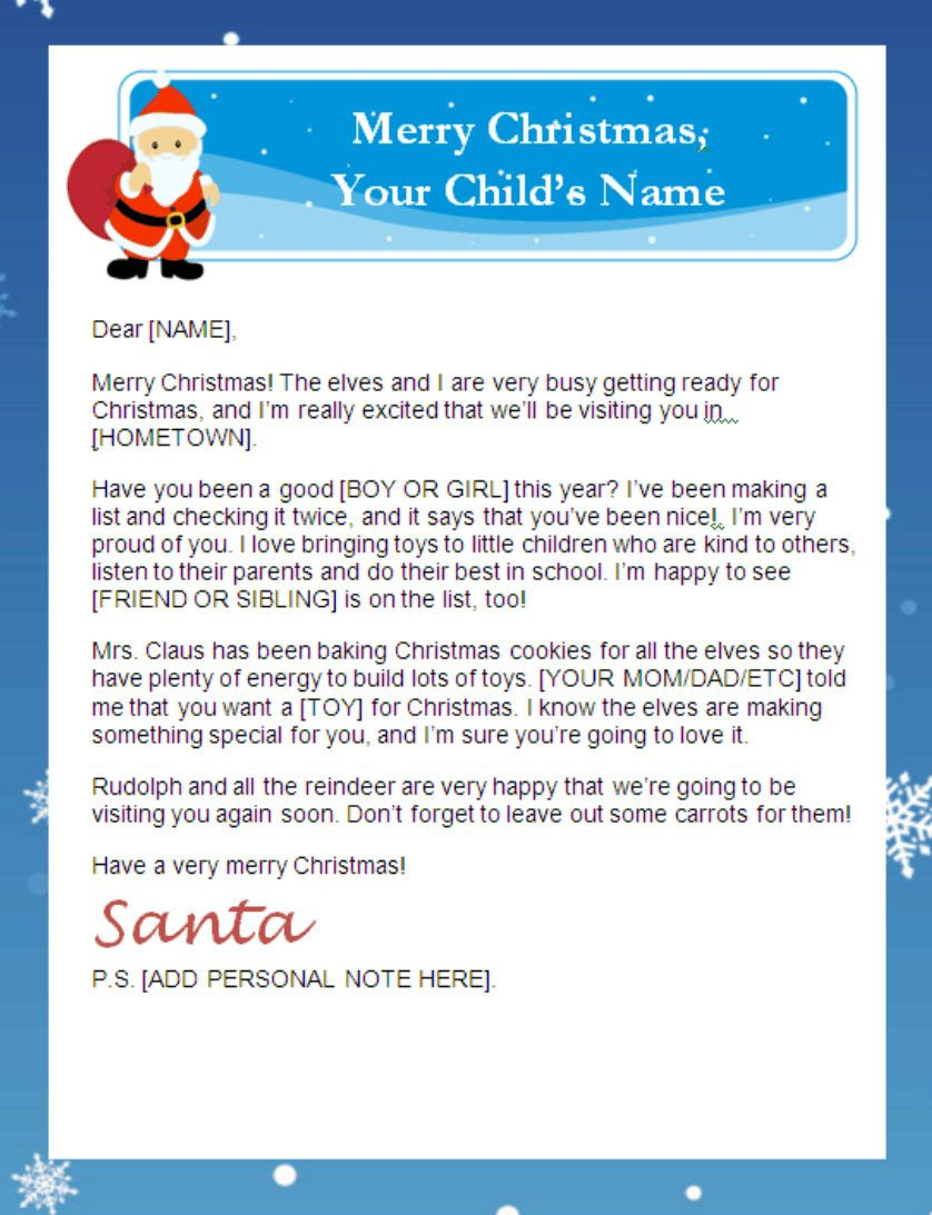 Letter From Santa Templates Free | Printable Santa Letters - Free Printable Letter From Santa Template