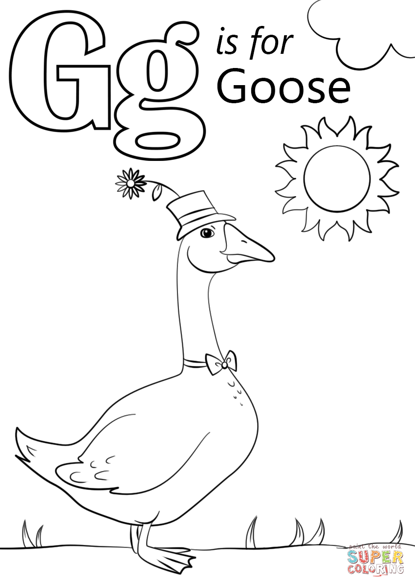 Letter G Is For Goose Coloring Page | Free Printable Coloring Pages - Free Printable Letter G Coloring Pages