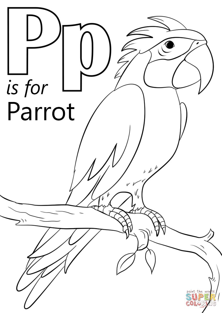 Letter P Is For Parrot Coloring Page | Free Printable Coloring Pages - Free Printable Parrot Coloring Pages