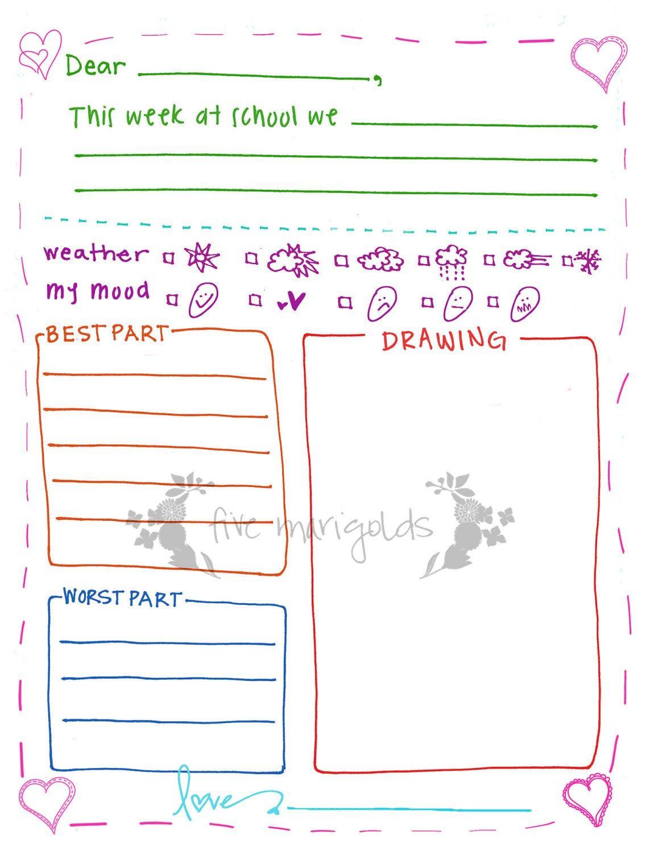 Letter To Grandma Printable Template Girl   Five Marigolds - Free Printable Letter Writing Templates