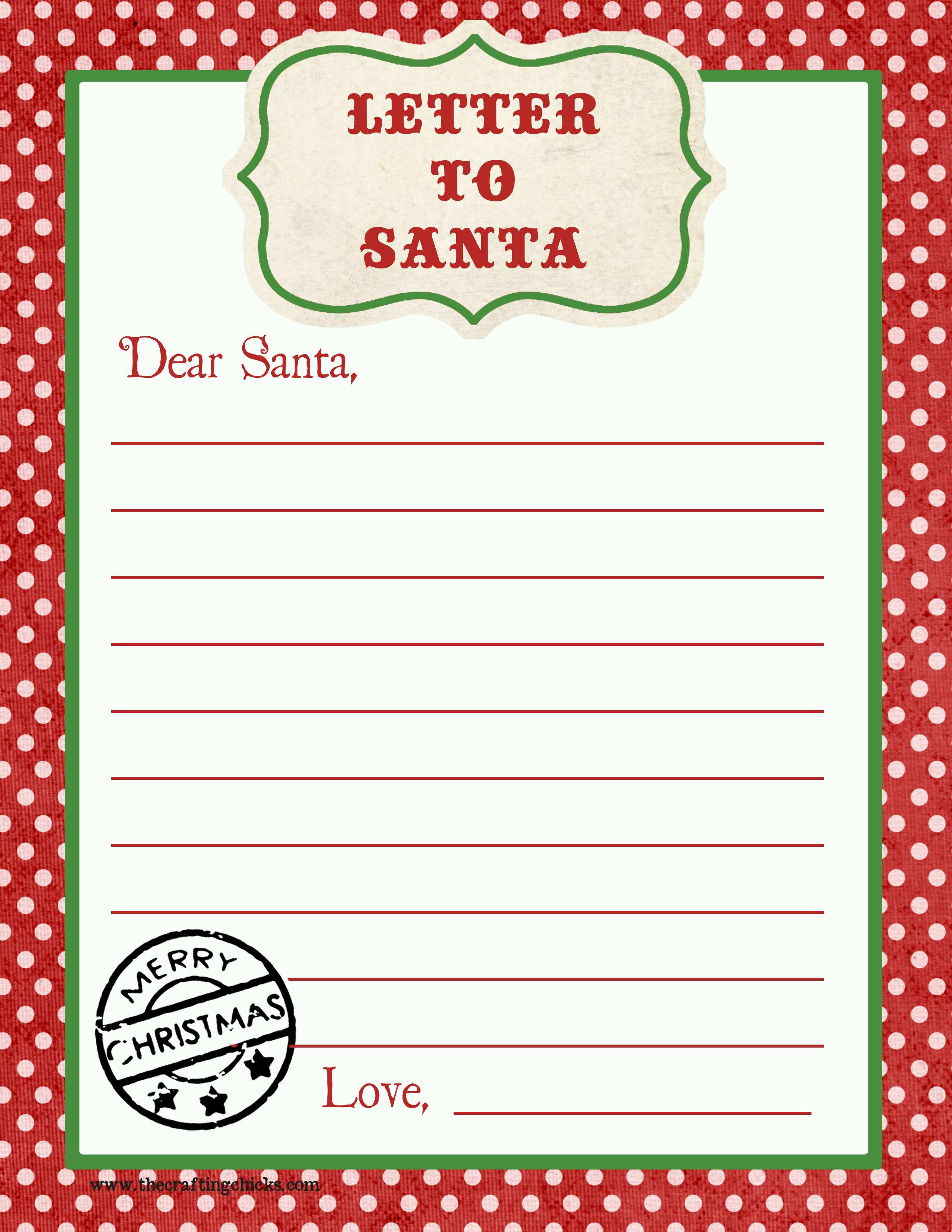 Letter To Santa Free Printable Download - Letter To Santa Template Free Printable