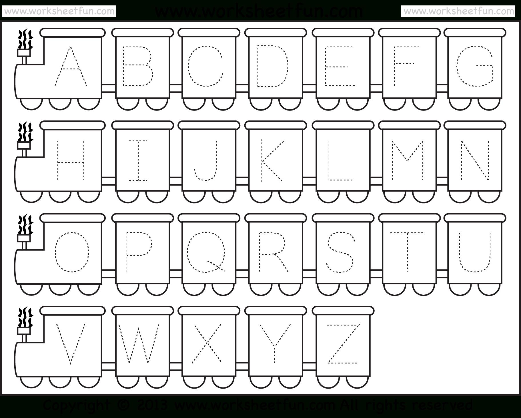Letter Tracing Worksheet – Train Theme / Free Printable Worksheets - Free Printable Alphabet Tracing Worksheets For Kindergarten