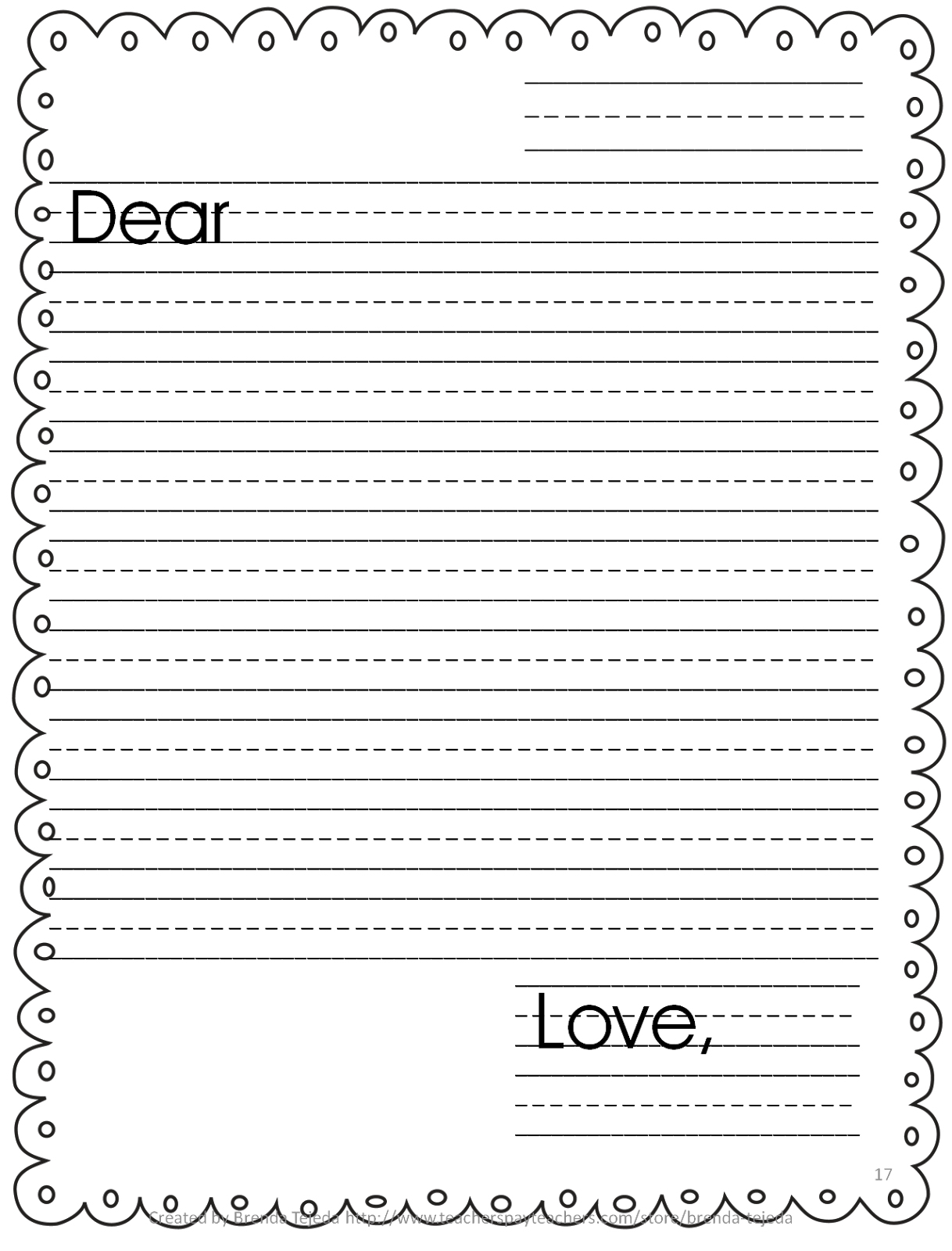 Letter Writing Template For Kids – Kanza - Free Printable Letter Writing Templates