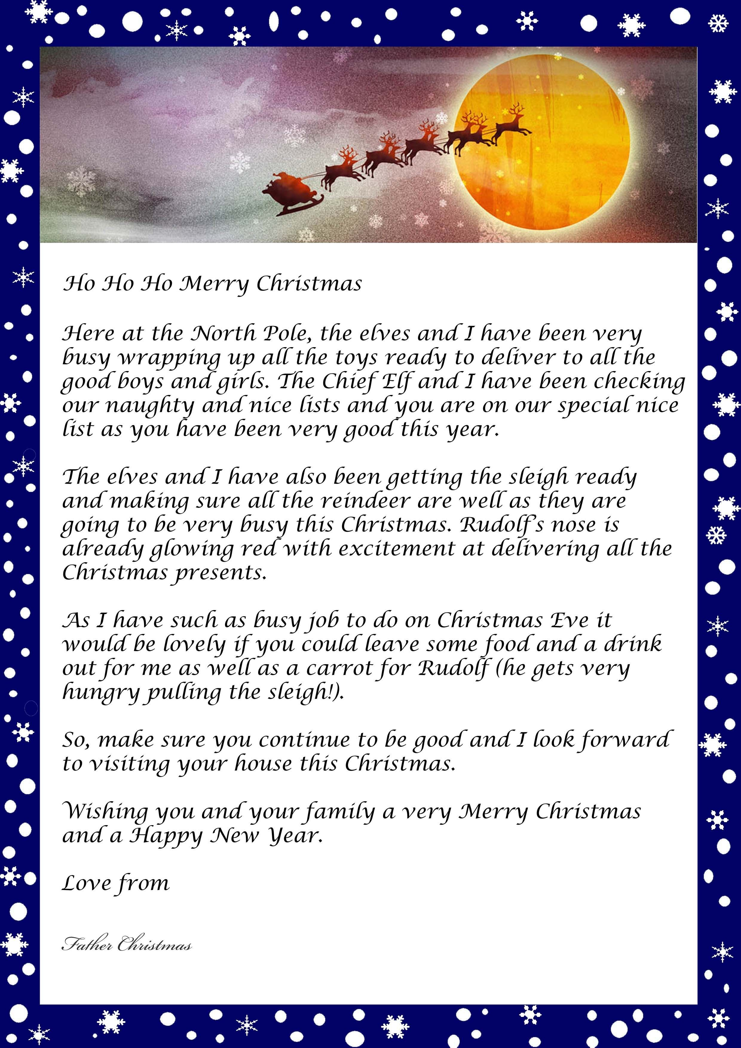 Letters From Father Christmas Free Letter Santa New Personalized - Free Personalized Printable Letters From Santa Claus