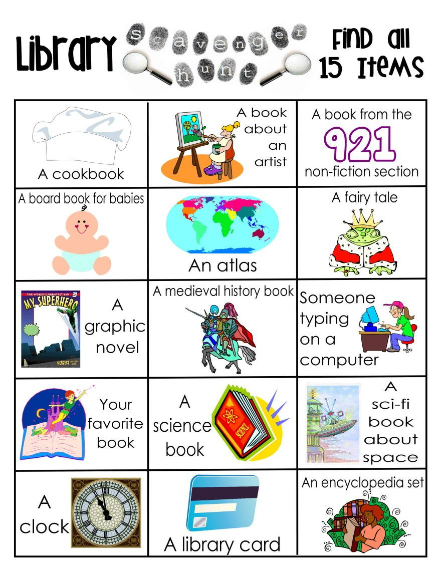 Library Activities | Reading | Library Scavenger Hunts, Library - Free Printable Pre K Reading Books
