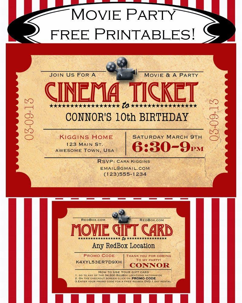 Like Mom And Apple Pie: A Summer Of Movies! Free Printables!   Diy - Movie Night Birthday Invitations Free Printable