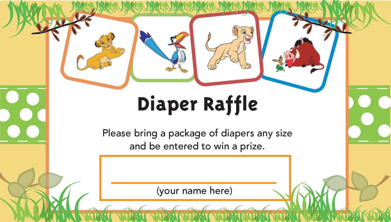 Lion King Printable Diaper Raffle Ticket   Baby Shower   Pinterest - Free Printable Lion King Baby Shower Invitations