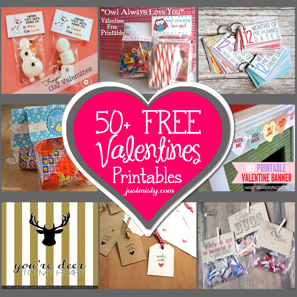 List Of Free Valentine's Printable Cards, Banners, Bag Toppers, Tags - Free Printable Valentine Graphics