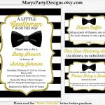 Little Gentleman Baby Shower Invitation   Boy Gold Black White   Free Printable Black And White Baby Shower Invitations
