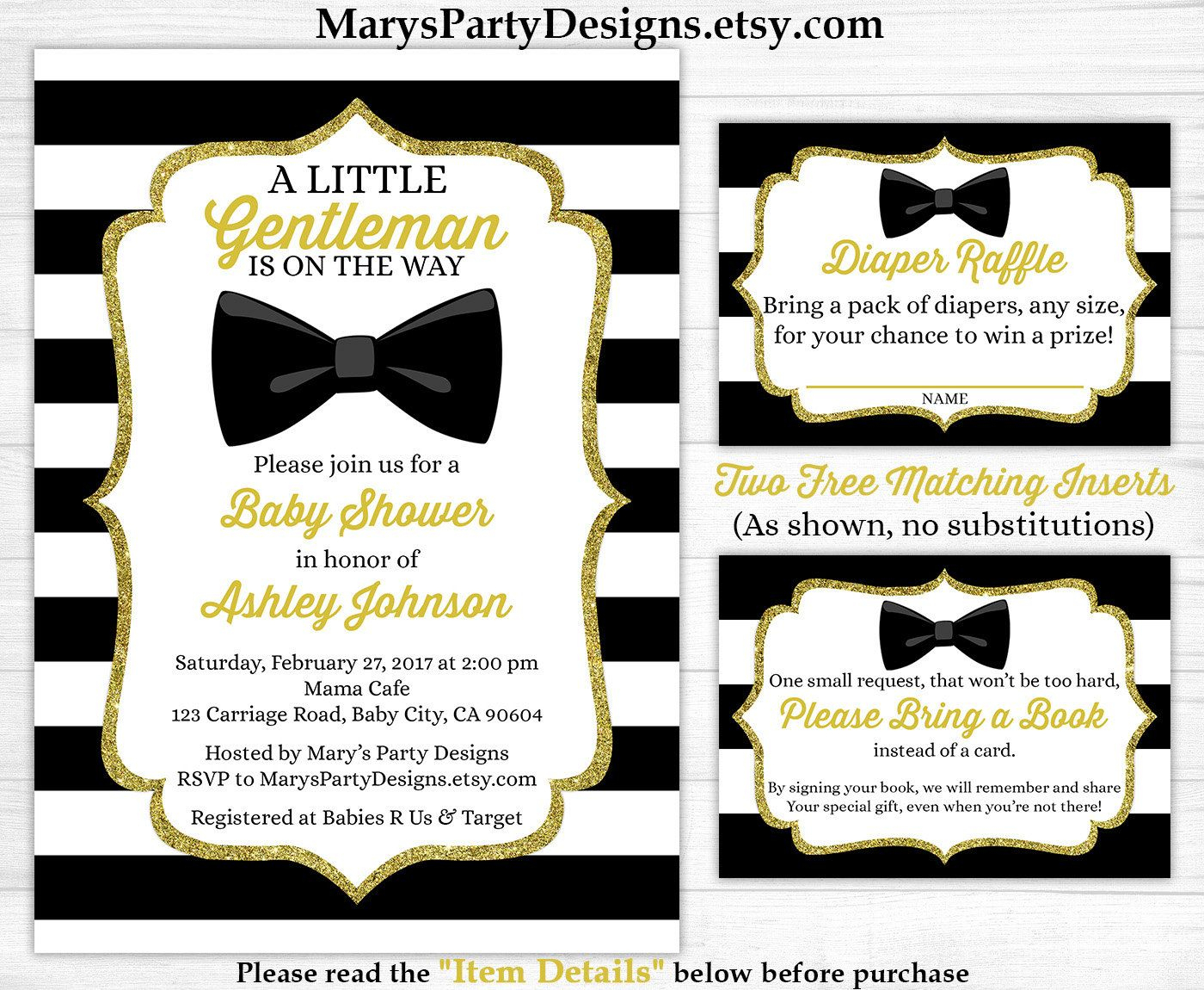 Little Gentleman Baby Shower Invitation - Boy Gold Black White - Free Printable Black And White Baby Shower Invitations