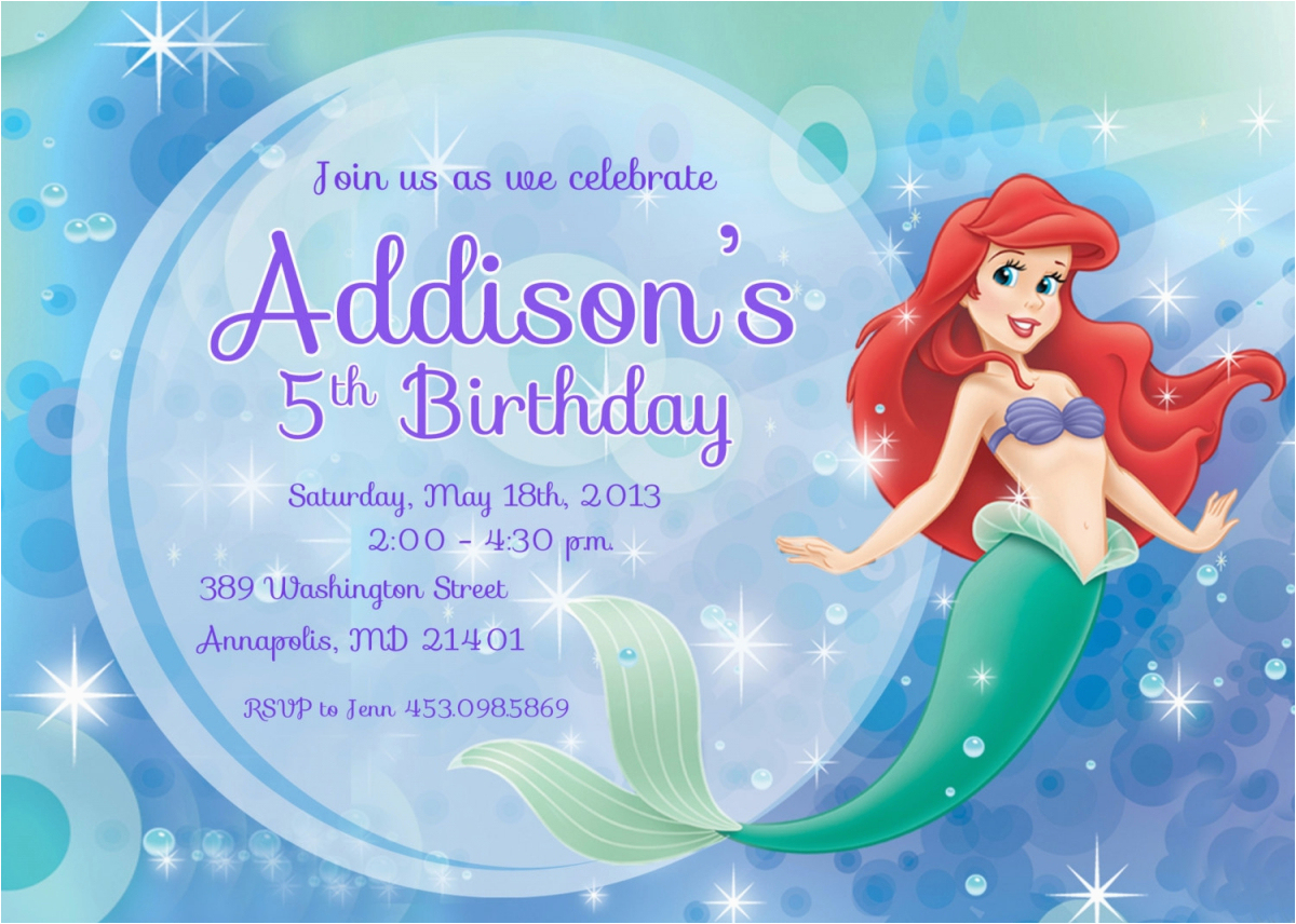 Little Mermaid Birthday Invitations Free Printables | Birthdaybuzz - Free Little Mermaid Printable Invitations